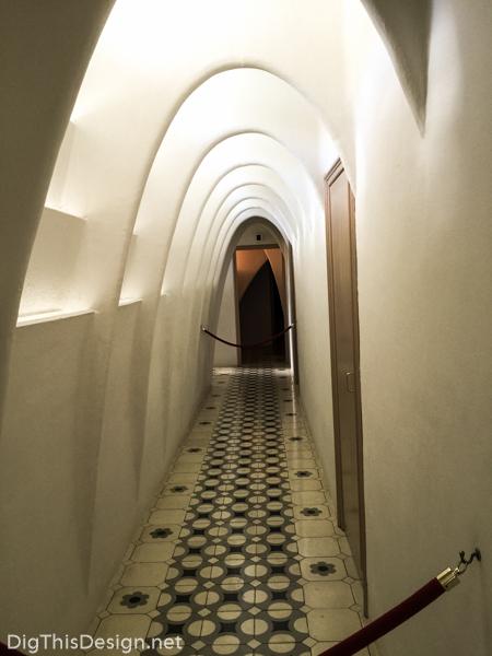The view down a hallway at Casa Batlló, designed by architect Antoni Gaudi.