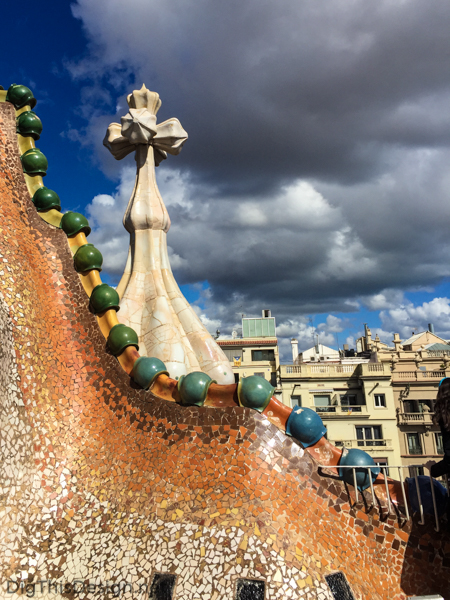 Roof top on the Casa Batlló, in Barcelona, Spain.