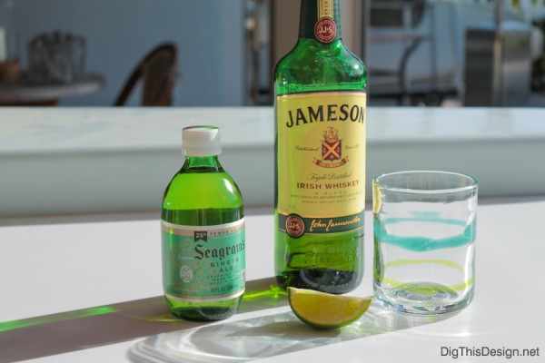 St. Patrick's day drink recipe with Irish whiskey, ginger ale, and a lime wedge.