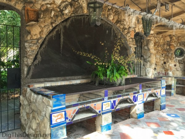 The large grills of the Spanish kitchen at McKee Botanical Gardens.
