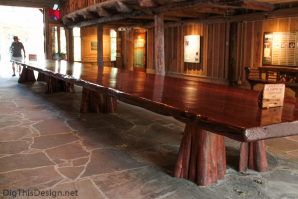 The larges mahogany table in the world, located in the Hall of Giants at McKee Botanical Garden.