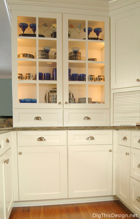 Interior cabinet lighting, designed by Patricia Davis Brown Designs.