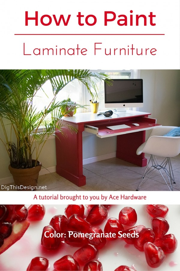A DIY tutorial on how to paint laminate furniture with paint using Pomegranate Seeds paint color from Ace Hardware.