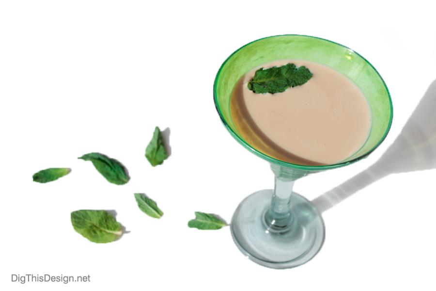 Baileys Irish cream chocolate martini with mint leaves.