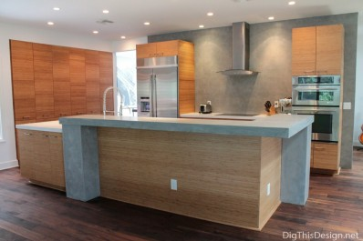Industrial kitchen design by Patricia Davis Brown Designs, showing a signature wall.
