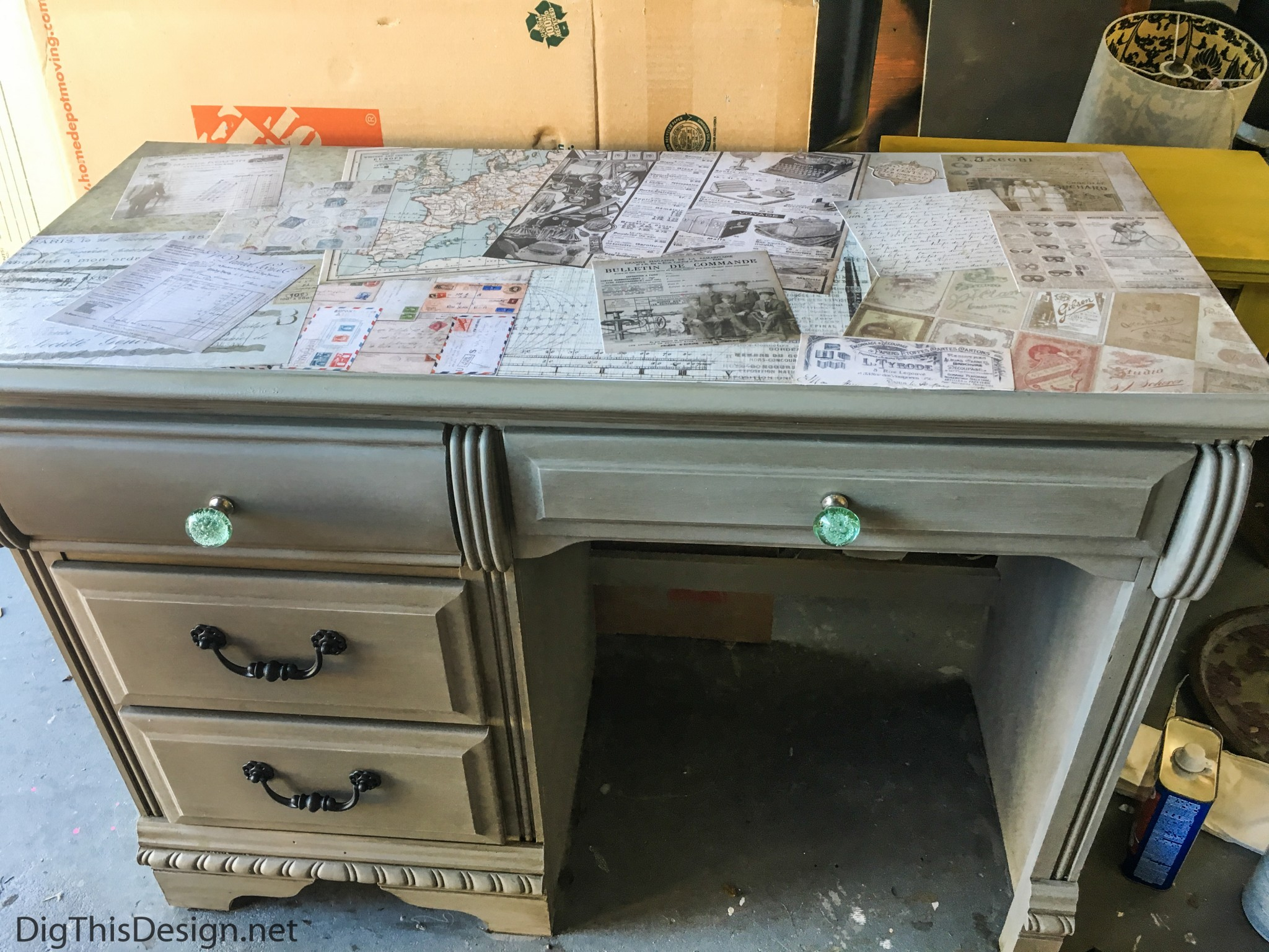 Refurbished Desktop Using Decoupage Medium Mod Podge Dig