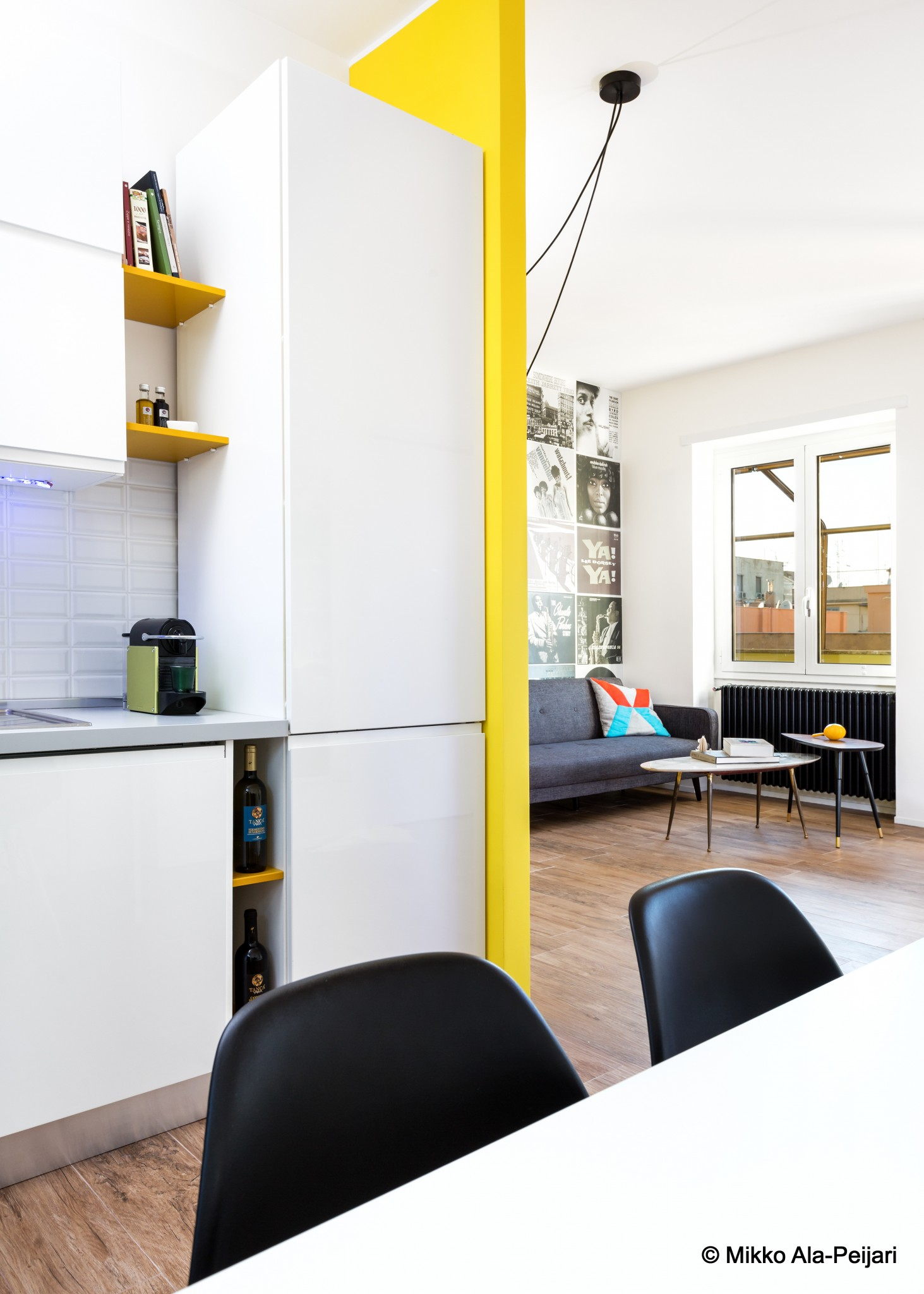 Bright colored wall as seen from adjacent spaces.