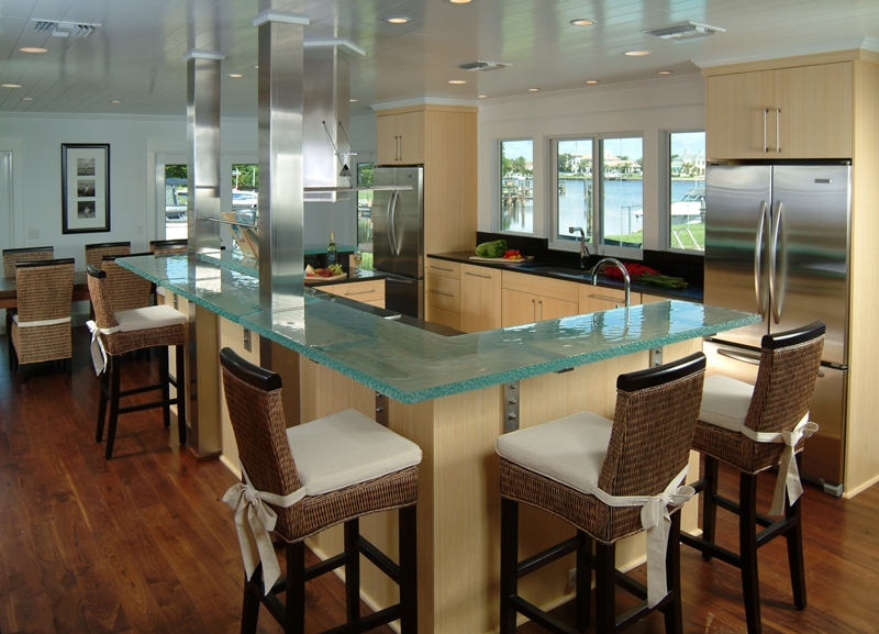 Glass-kitchen coastal design with glass counters