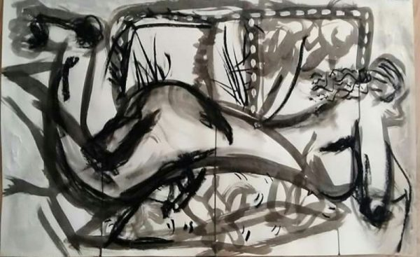 Artist Adam Cook - Female black and white.