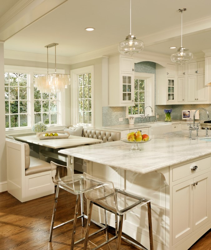 awesome Kitchen Remodel Advice #9: Kitchen Remodel - White kitchen with blue tile backsplash and banquette  seating