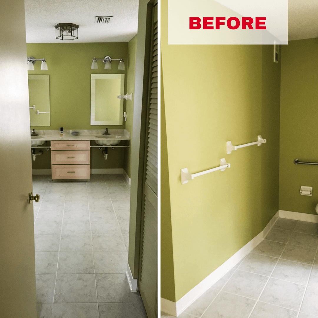 Bathroom transformation before pictures.