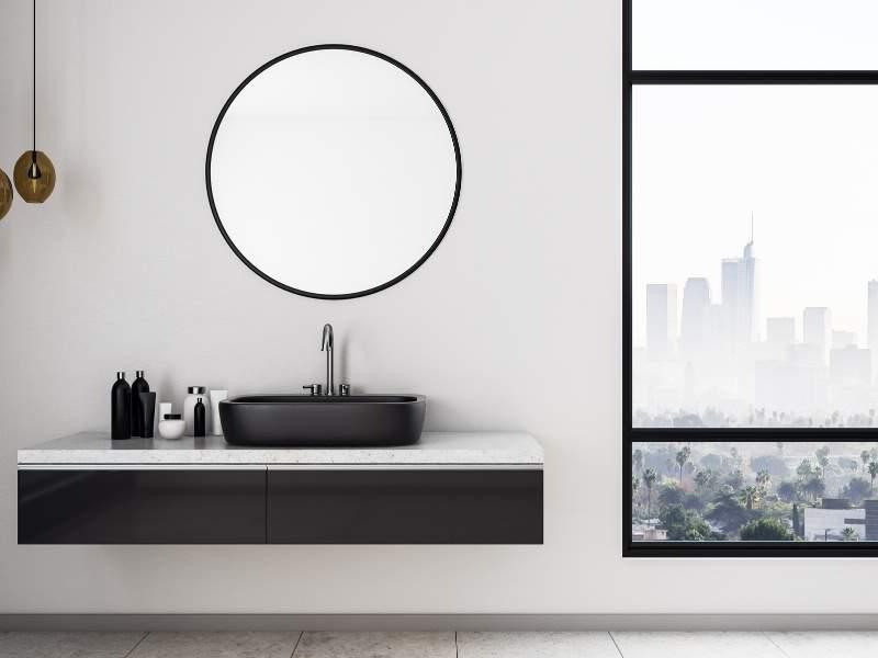 Small bathroom floating vanity
