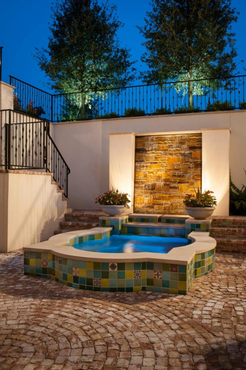 Designing water bright blue lighted pool