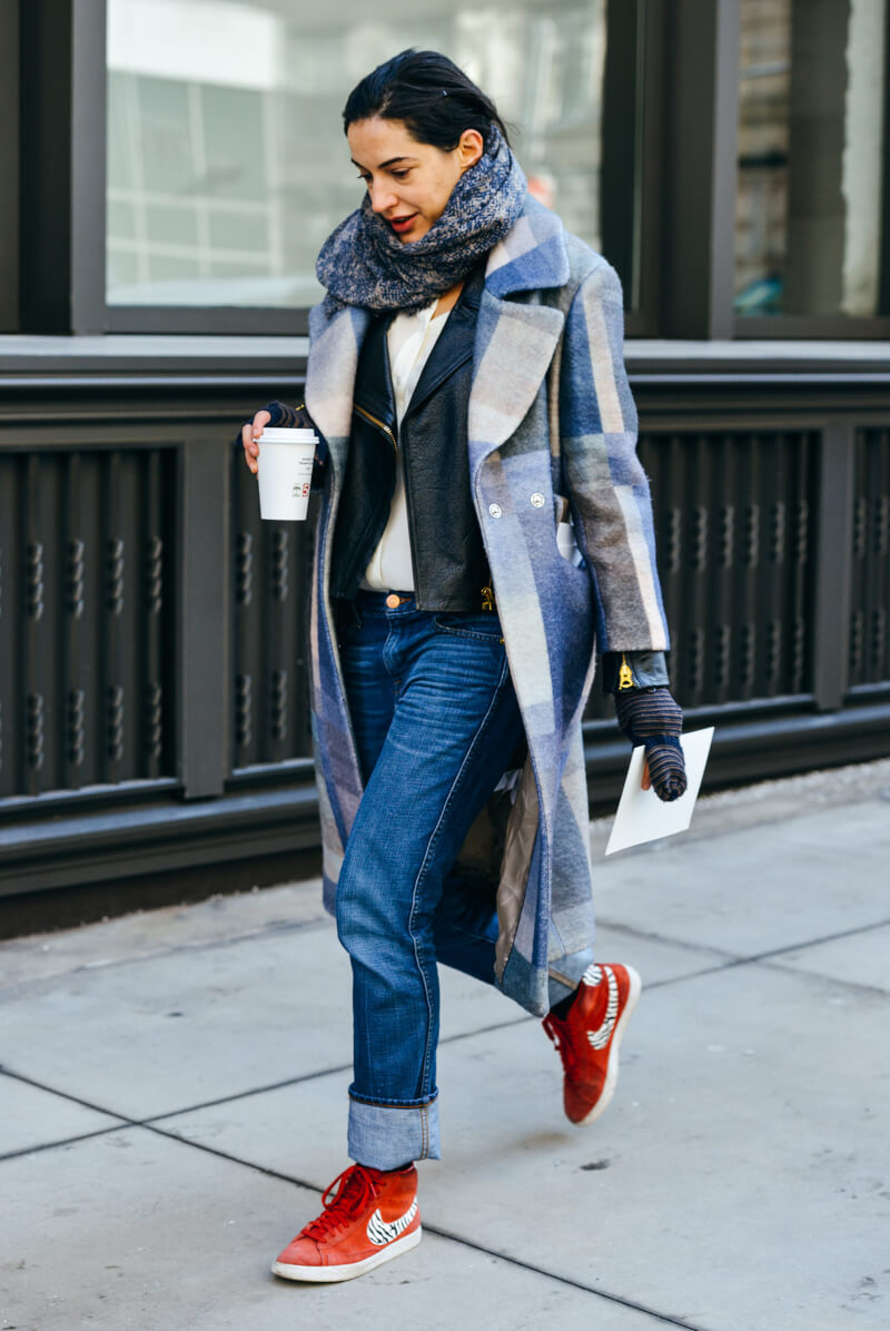 Street Style NYC Wool Blue Plaid