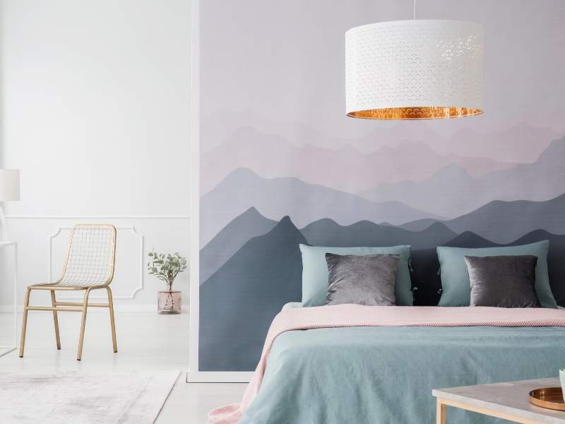 Mural themes of calm and misty mountains.