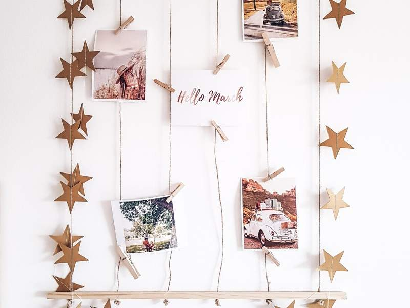 Sparkling photo display on a wall