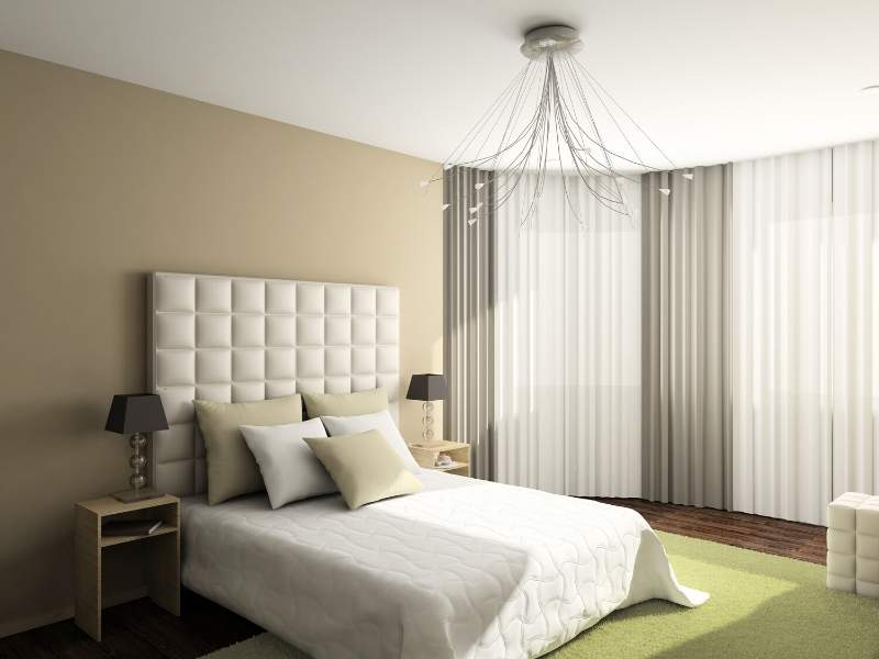 Square Tuft Headboard in a Soft Flowing Room