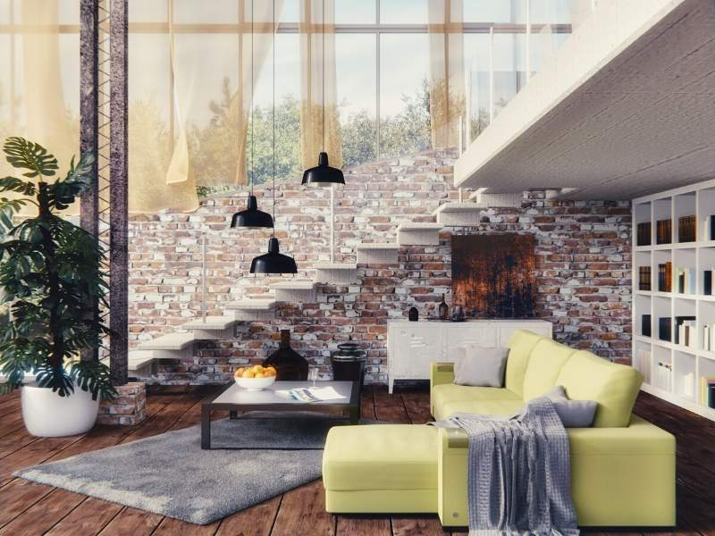 Organic feel with industrial brick walls and ceramic decor along with lots of natural light
