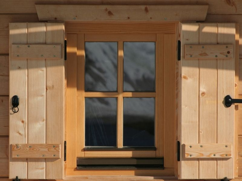 Latching Wood Shutters and Window Box