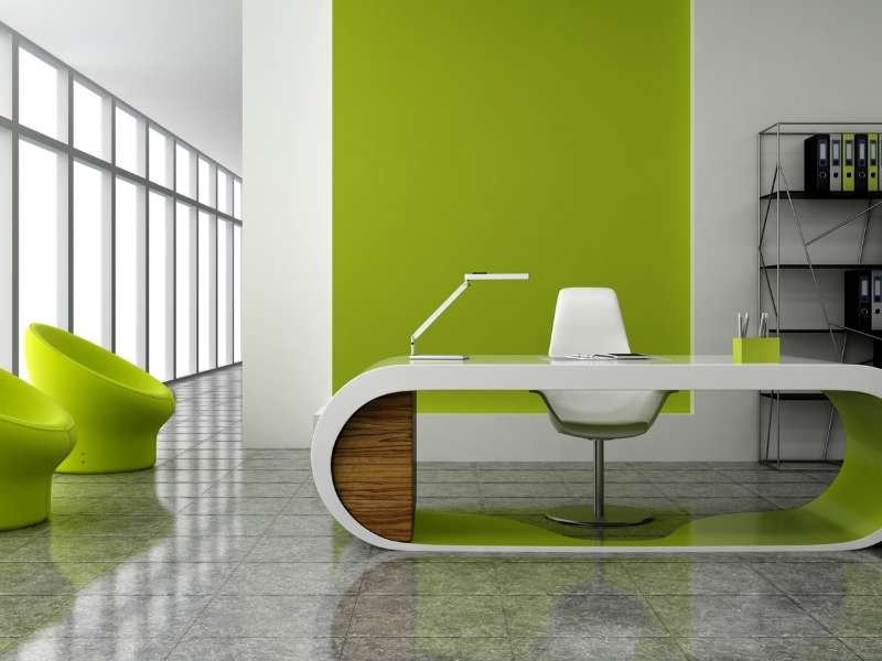 Productive Office Space with Bright Colors