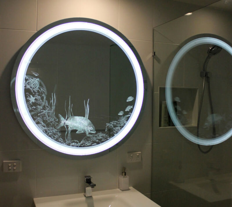 Lighted and Etched with Ocean Scene lear Light Mirror Etched Glass Designs That Will Amaze You