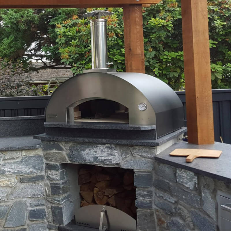 Party-perfect Fontana Forni Forno Toscano Margherita 31 Countertop Outdoor Wood-Fired Pizza Oven Stainless