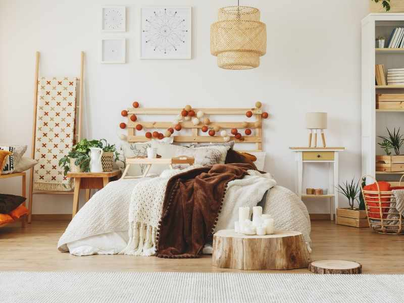 Earthy rustic furnishings and accessories with tannish-white walls