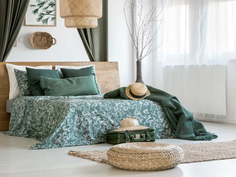Bedroom Design with Wicker Decor