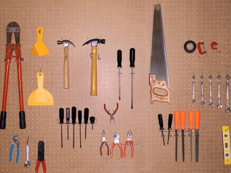 Garage organization with peg boards