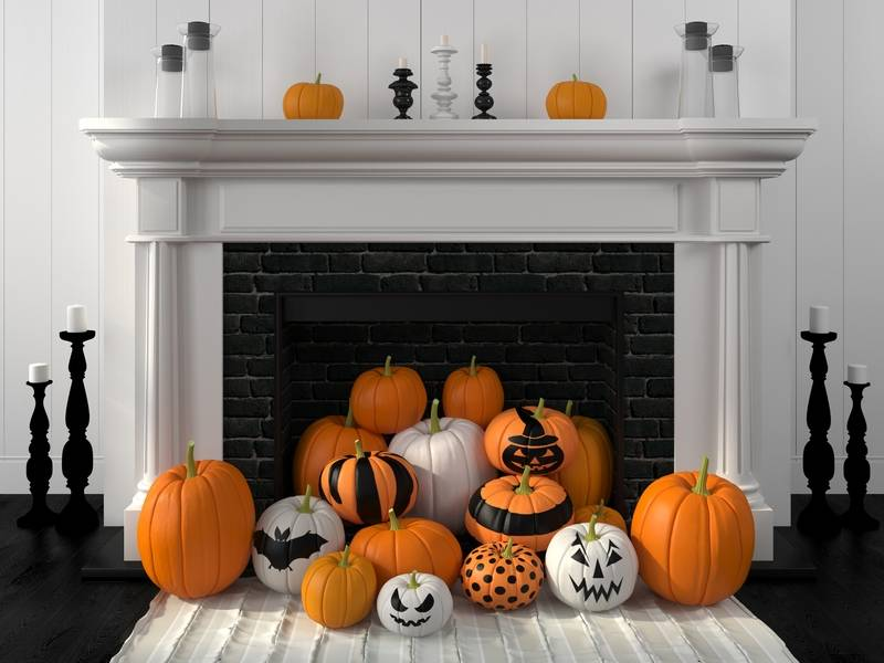Halloween Decor Themes in the Fireplace