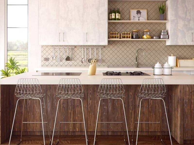 Backsplash in the Kitchen with Peel Off Tiles