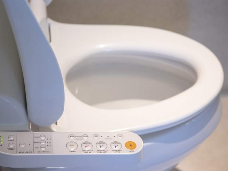 A modern bathroom dual-flush toilet.