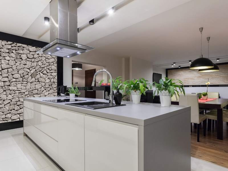 A Stony Mural Kitchen Accent Wall