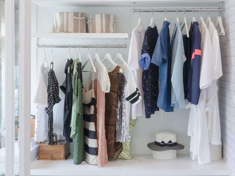 Double-hang closet organization