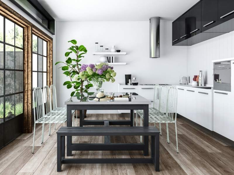 Eat-in Kitchen Designs with Bench for Banquet Style