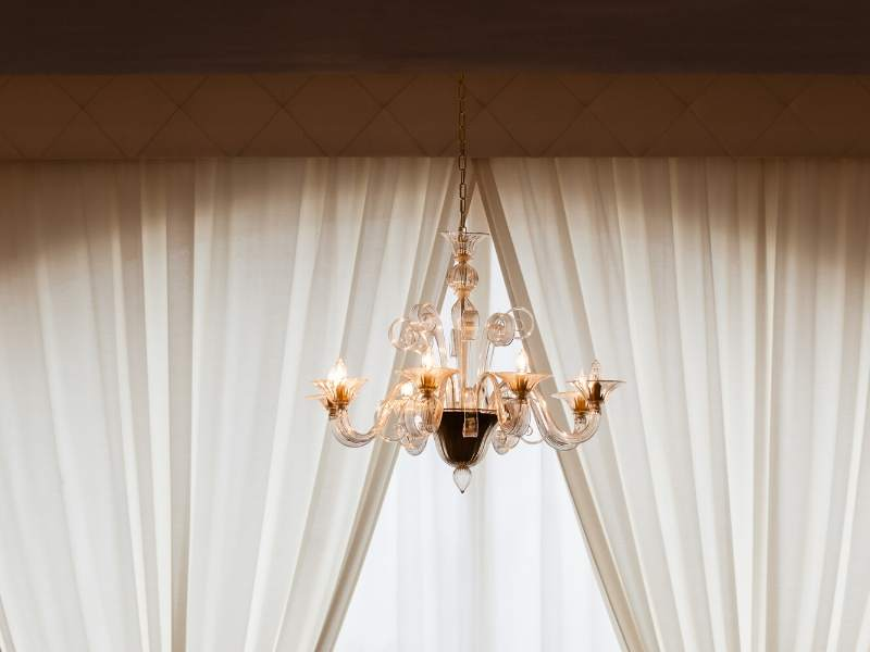 French style drapes and lighting