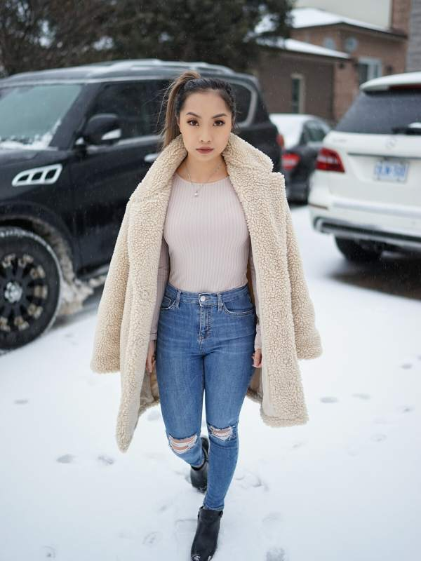 Pair Regular Jeans With A Posh Coat