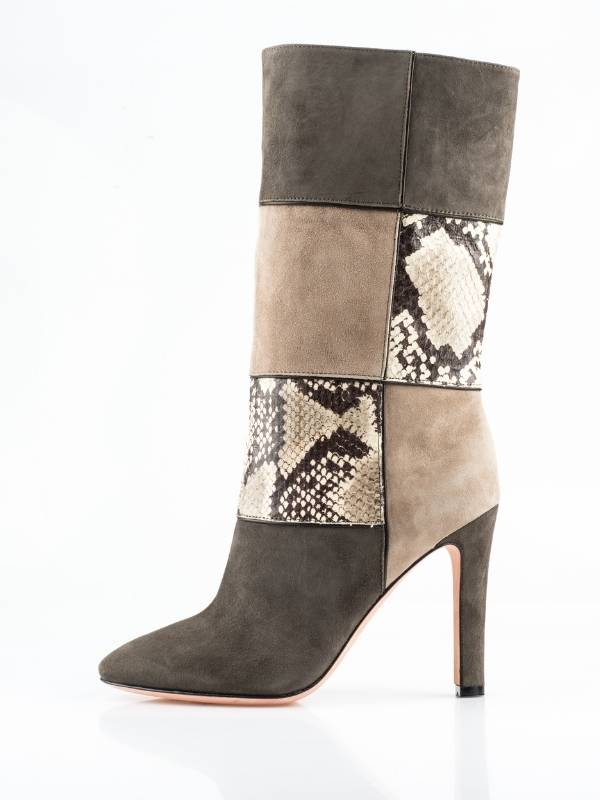 ashion Boots for Fall 2020 - Suede blocks with snake skin