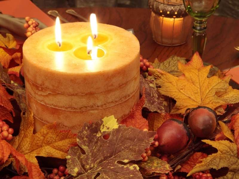 November Dining Decor - Bring on the Big Candles