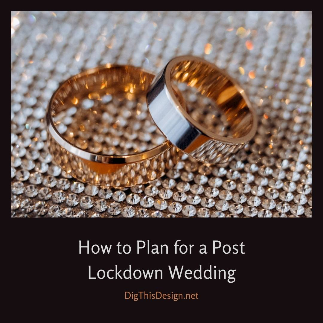 How to Plan for a Post Lockdown Wedding - Two Gold Wedding Bands on a mat of diamonds.