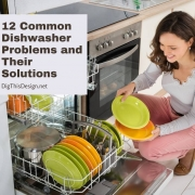 12 Common Dishwasher Problems and Their Solutions - lady in front of dishwasher with green and orange dishes.