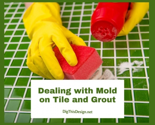 Dealing with Mold on Tile and Grout - scrubbing a green tile counter in yellow gloves and red sponge.