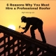 6 Reasons You Must Hire a Professional Roofer - shows man working on roof with sun setting in the background.
