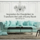 Inspiration for Chandeliers - living room crystal chandelier with white walls and light turquoise sofa with table lamps on end tables.