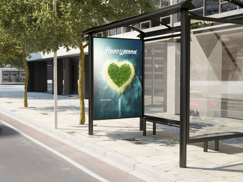 Outdoor Marketing Strategies - Street furniture advertsiing - ad at a bus stop.