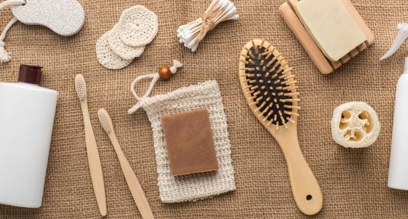 Modern uses of bamboo material - bamboo brushes, toothbrushes, and other accessories.