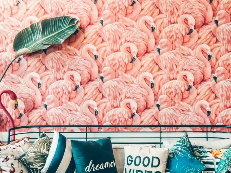 Summer 2021 Top Trending Wallpaper for Home Decor - Pink flamingos bright pattern wallpaper.