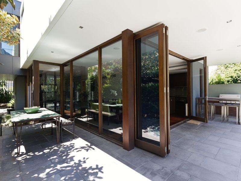 Folding glass doors on patio.