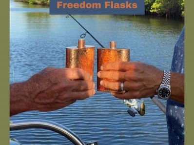 Today, my husband Lee and his good friend Joe are out fishing and enjoying each other's company with their rugged yet stylish Jacob Bromwell copper flasks.