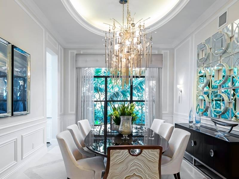 Beautiful modern style chandelier over dining room table.